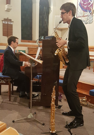 Ashley Fripp (piano) and Jonathan Radford (saxophone)